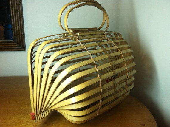 Vintage Asian Bamboo Carrying Cage Wooden Purse