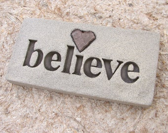 """Love Rocks """"believe"""" Plaque with Natural Found Heart Shaped Rocks - Custom Made to Order - Word Wall Stone Art Sign Affirmation"""