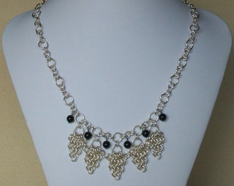 Chainmaille Statement Necklace with Black Swarovski Pearls