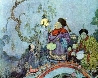 The Nightingale Fabric Block | Hans Christian Andersen Fairy Tale | Edmund Dulac