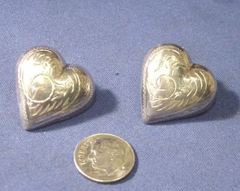 Vintage 925 STERLING Silver Heart Shaped Pierced Earrings w/ Etched Style Design,Now at A Lower Price