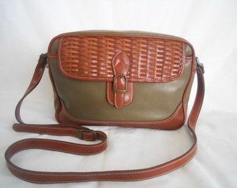 Vintage Olive Drab and Brown Handbag
