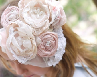 flower wedding veil up-cycled vintage lace blush pink ivory pearls wedding hairpiece fascinator spring easter bonnet hair clip gatsby hair