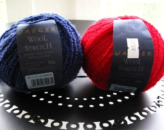 Jaeger Wool Stretch Shade 114 Red and Shade 117 Blue