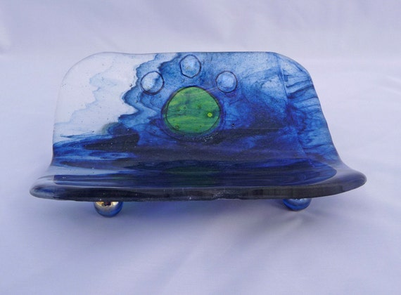 Love to Splash Bowl  -  Fused Glass Blue Water with Green Embossed Paw Print Curved Bowl