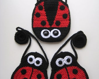 Crochet Pattern ladybird purse bag INSTANT DOWNLOAD PDF mummy and baby, girls, strap, cute, eyes, ladybug, uk and us versions No6