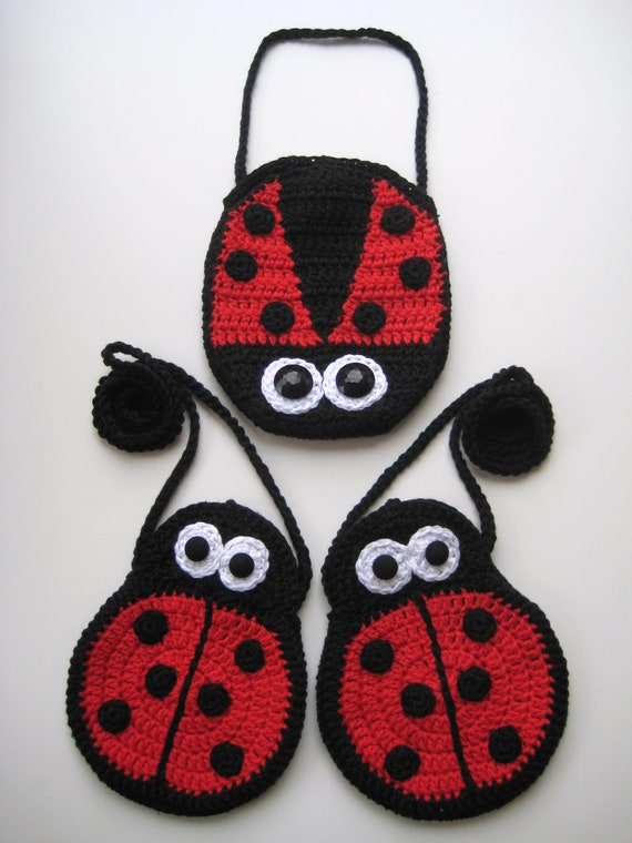 Crochet Pattern ladybird purse bag INSTANT DOWNLOAD PDF mummy