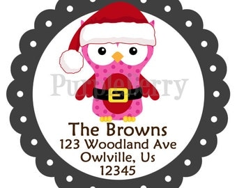 Holiday Address Labels -  Cute Santa Owl Red Pink Black Winter Bird Owl Personalized Address Label Stickers - 20 Christmas Address Stickers