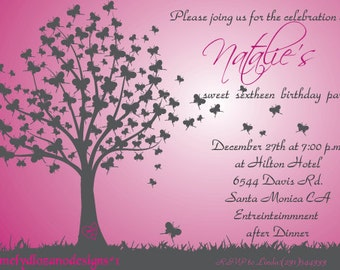 Butterfly tree sweet 16 or quinceanera invitation
