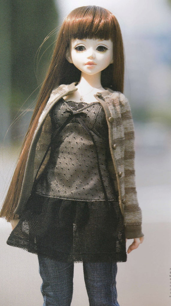 1/4 MSD BJD Doll Casual Chic Cardigan, Tulle, Tunic, and Jeans set pdf Scaled E PATTERN in Japanese and Template Titles in English