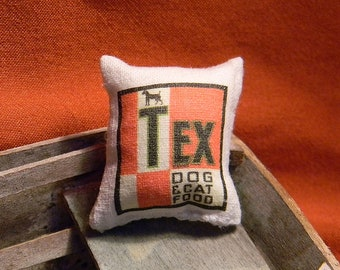 Dollhouse Tex Cat & Dog Food Sack - Doll House Miniature Sized - Authentic Reproduction