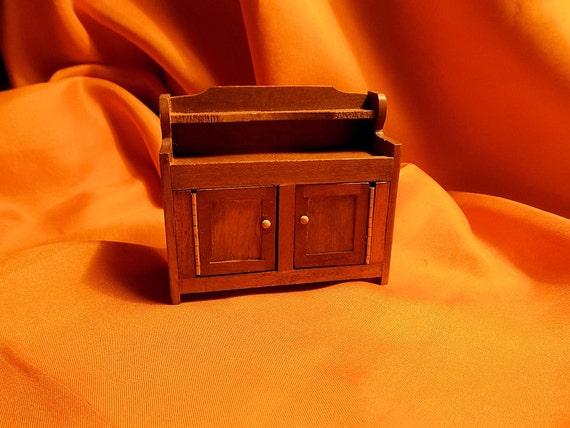 Doll House Drysink - Shackman - Solid Walnut -  Miniature Dry Sink - 1 12th Scale
