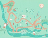 Illustrated map of Bristol (A3)