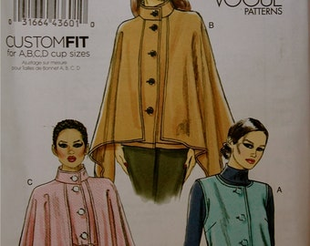 """Jacket Set- Capelet Option- Custom Fit Cup Sizes Vogue Pattern 8674 Uncut  Sizes 8-10-12-14, 16-18-20-22-24   Bust 38-40-42-44-46"""""""