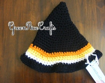 """HALLOWEEN """"Little Boo"""" NB through 5T Candy Corn Witch Hat"""