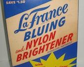 1950s LaFrance Bluing and Nylon Brightener Deodorizer Laundry Detergent Still half full