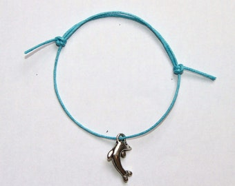 dolphin silver charm on waxed cotton cord adjustable friendship bracelet