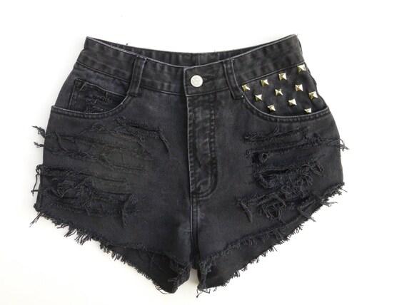 Size 1 Black High Waisted Destroyed Denim Shorts