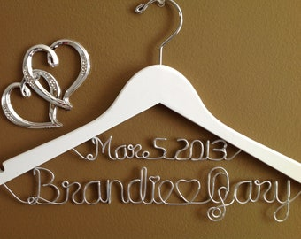 Wedding Personalized bridal hanger,White two lines,brides hanger, Bridal Hanger with date, Bridal Gift,Wedding gift, Shower gift,