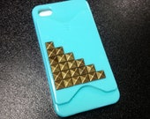 Mint Stud iPhone Case with credit card holder