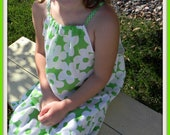 White and Lime Flowered Upcycled Pillowcase Dress
