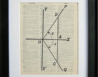 Trigonometry right triangles printed on a page from an antique dictionary