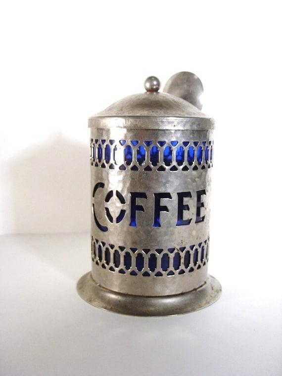 Vintage Coffee Jar - Cobalt Container - 1970s Victorian Kitchenware