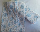 Set of 6 Upcycled Snowflake Print Flannel Prefold Diapers