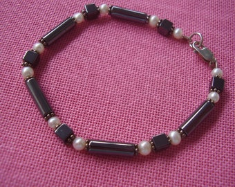 Handmade Sterling Silver, Pearl and Hematite Bracelet