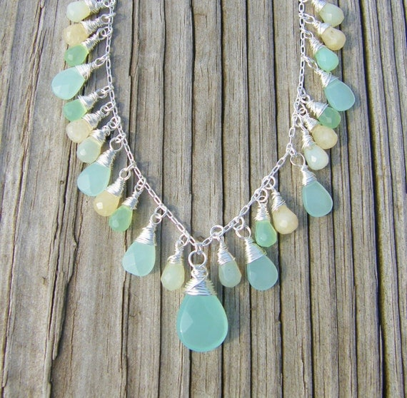 Quartz Jewelry Sea Blue Chalcedony Jewelry Seafoam Light Green New Jade Yellow Jade Sterling Silver Plated Chain Wire Wrapped