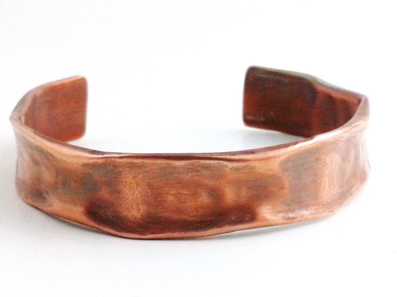 Copper Bracelet Cuff Heat Patina Rustic Earthy Organic Forged