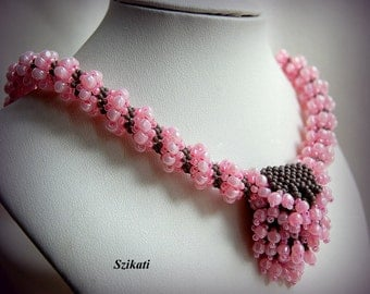 SALE 10% OFF! Pink/Gray Statement Beadwoven Pendant Necklace, Cellini Spiral, Accessory, Women's Beaded Fashion Jewelry, Gift for Her, OOAK