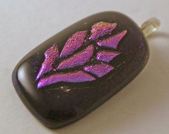Dichroic Fused Glass Pendant - Mosaic Pink Flower