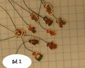 dollhouse scale or barbie victorian paper christmas ornaments  teddy bears