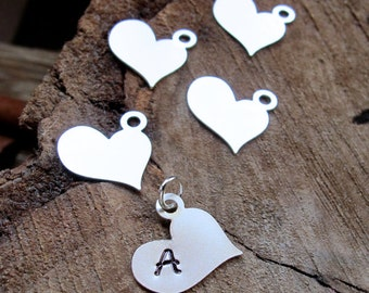 Silver / Gold Heart Initial Letter Charm - Fancy Personalized Heart Pendant - Hand Stamped Love Initial Necklace Add On - Silver Heart Charm
