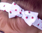 Strawberries Headband with a Matching Bow, sizes to fit from Baby to Adult or Made to Measure