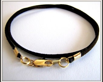 14 to 24 inch Black Suede Necklace Cord,  Black Cord, Jewelry Accessory, Gold, Silver, Antique Brass Lobster Claw Clasp, Custom, Unisex