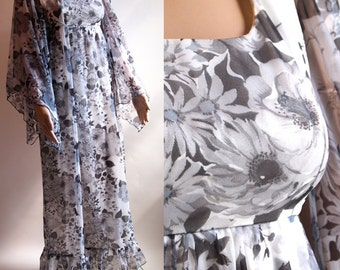 Vintage 70s black white grey floral maxi dress in flowing sheer nylon with kimono flutter sleeves by Berketex size 12