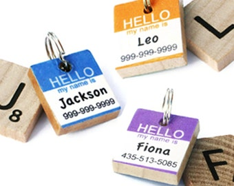 HELLO My Name Is - Scrabble Pet ID Tag - Dog Tag - Cat Tag - Unique Pet Tag - Handmade