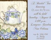 Bridal Tea Invitation - Teapot and Flowers