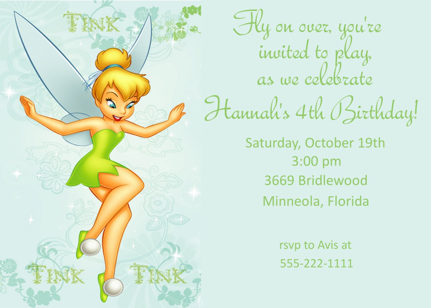 Tinker Bell Invitation as luxury invitation template