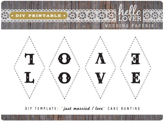 wedding cake bunting template items similar to diy printable vintage quot just married 22126