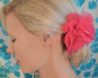 Hot Pink Begonia Flower Hair Clip