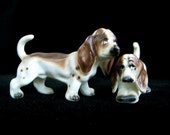 Vintage Bassett Hounds, Bone China Miniatures, Pair