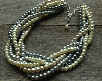 SUMMER SALE Ivory Grey Champagne Pearl Necklace Braided Cluster on Silver Chain