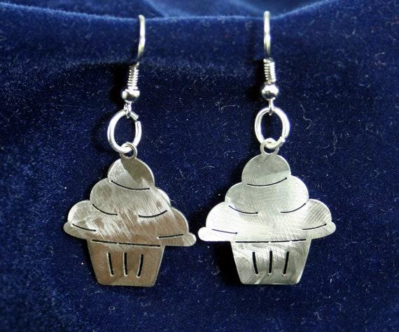 Little Cupcake Stainless Steel dangly Earrings