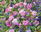 Limited Edition Giclee Canvas PRINT 8 x 10  - Wild Roses Signed Pink Flowers Small Art