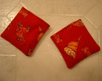 Red Flannel Fire Hats and Engines Hand Warmer Corn Cozies