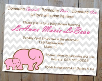 Elephant Baby Shower Invitation - Pink Mommy and Baby Elephant Printable Baby Shower Invitation