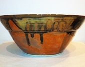 Large Serving Bowl:  Red, Brown, Yellow, Orange